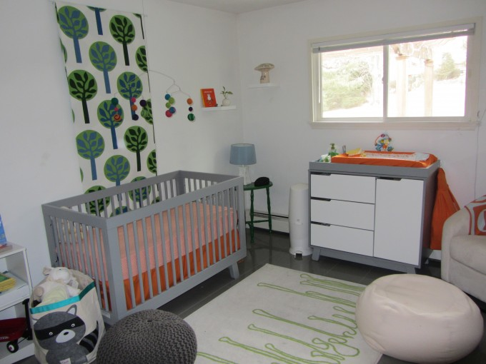 Lovely Nursery Decoration With Grey Crib By Babyletto On Wooden Floor Plus White Carpet Matched With White Wall Plus Cabinets Ideas