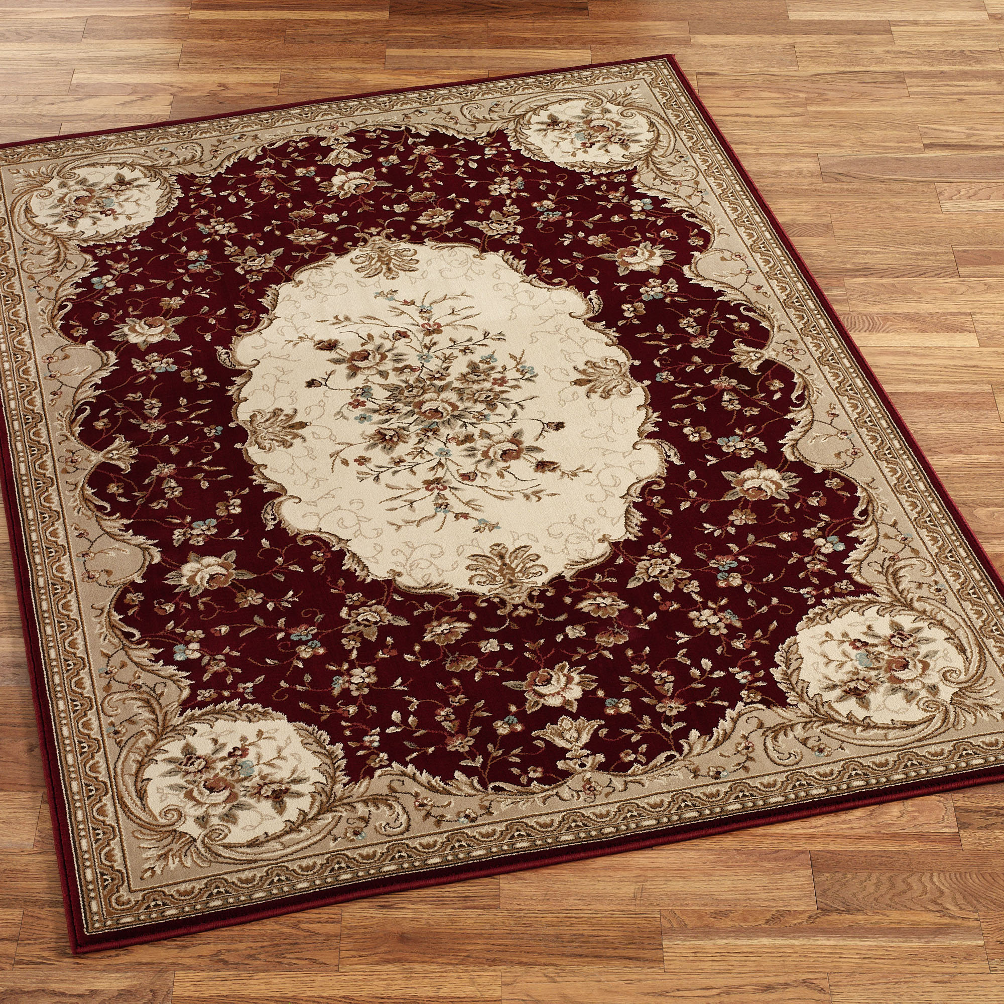 lowes rugs in red and mocca with charming floral motif for floor decor ideas