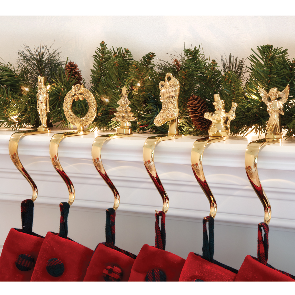 luxury golden christmas stocking hanger in charming design for christmas decoration