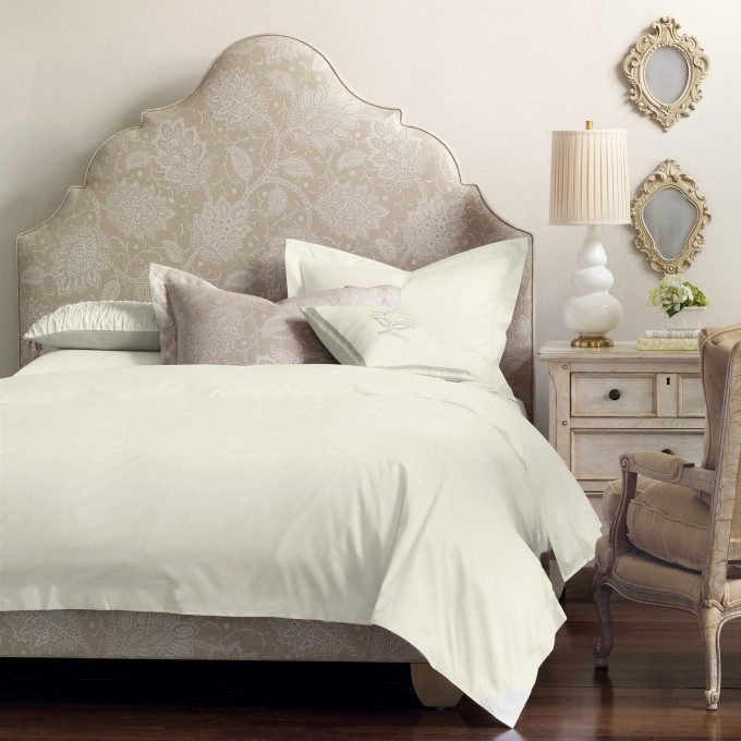 Luxury Upholstered Headboards In Beige With White Bedding Plus Pillow Before The Beige Wall Plus Table Standing Lamp For Bedroom Decor Ideas