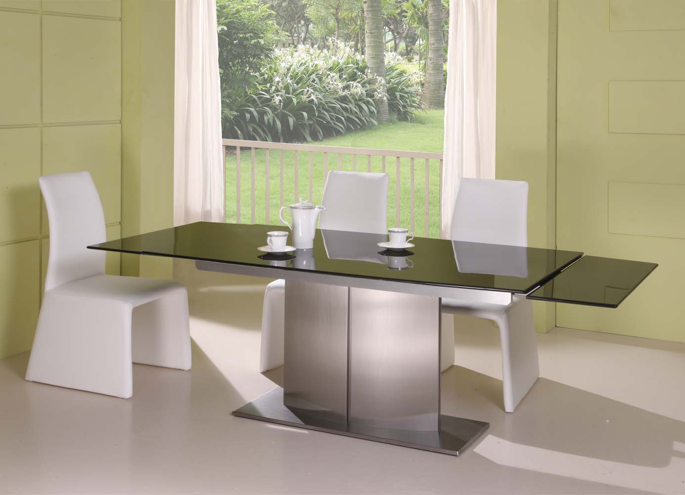 make a beautiful dining room with expandable dining table set with white chairs and glass surface table on white floor matched with olive wall ideas