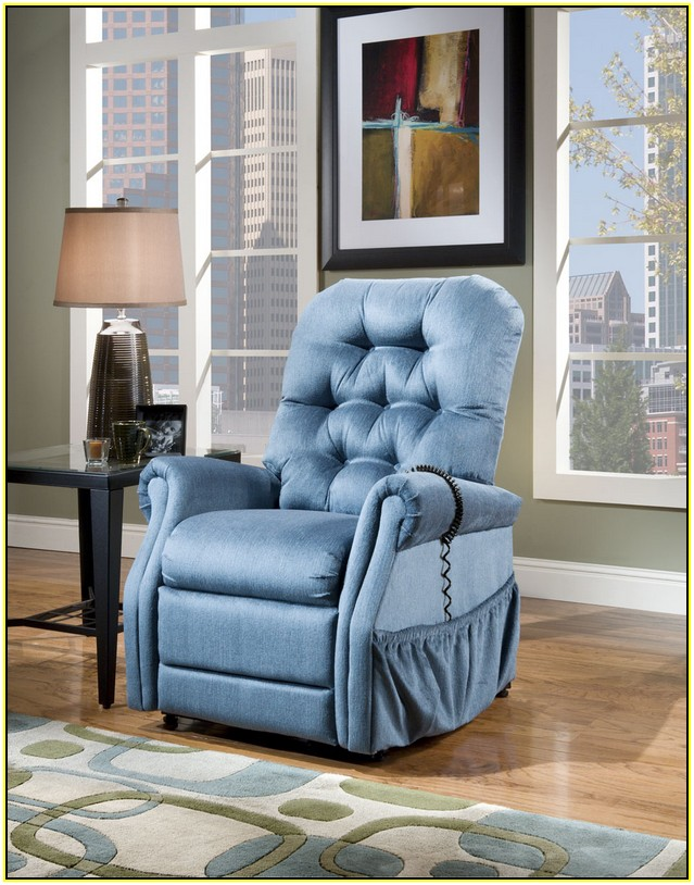 Med Lift 2553 power lift recliners 3 Position in blue with Pocket on wooden floor plus carpet and black table with table standing lamp for living room decor ideas