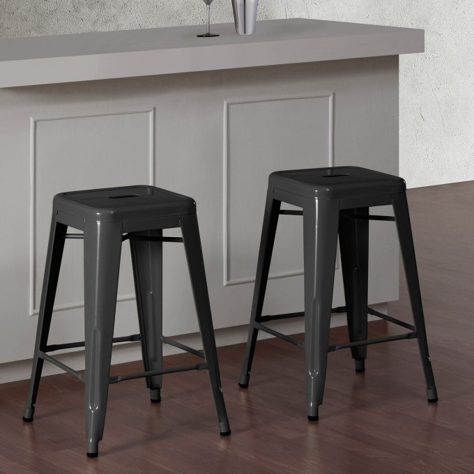 Metal 24 Inch Counter Stools In Dark Grey For Home Furniture Ideas