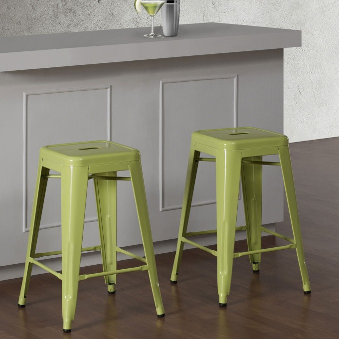 Metal 24 Inch Counter Stools In Green For Home Furniture Ideas
