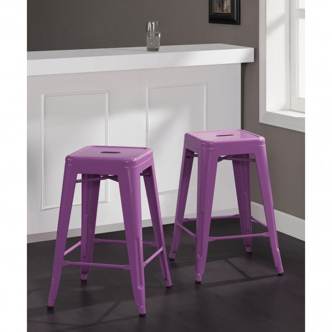 Metal 24 Inch Counter Stools In Purple For Home Furniture Ideas
