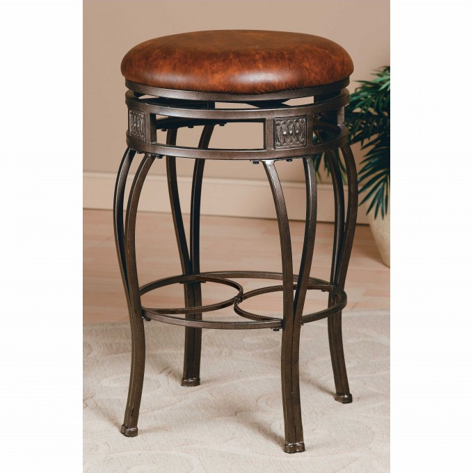 Metal 24 Inch Counter Stools With Brown Leather Seat For Home Furniture Ideas