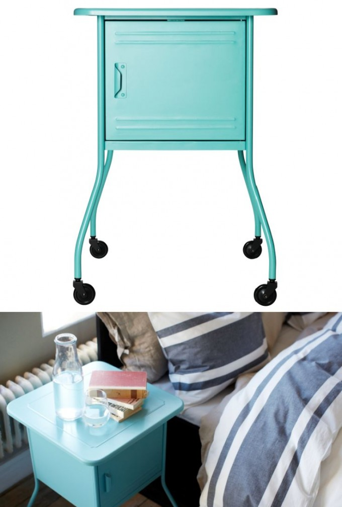 Mini Turquoise Nightstand With Legs And Wheels For Home Furniture Ideas