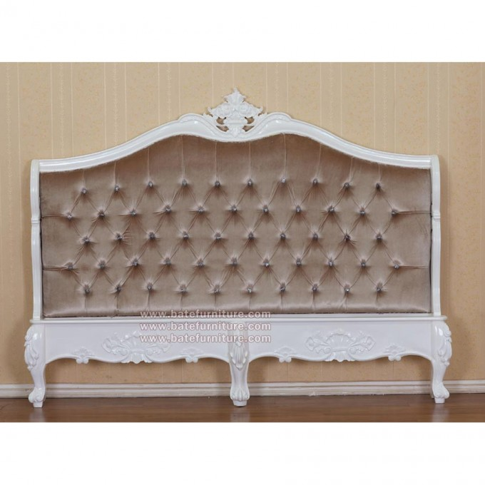 Modern And Luxury White Carving Upholstered Headboards With Brown Tufted Linen For Charming Bed Decor Ideas