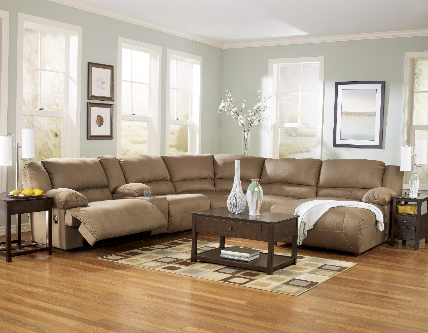 Living Room Sofa Ideas Modern Cheap Sectional Sofas In Tan On Wooden Floor Plus Checked Carpet And Small Table
