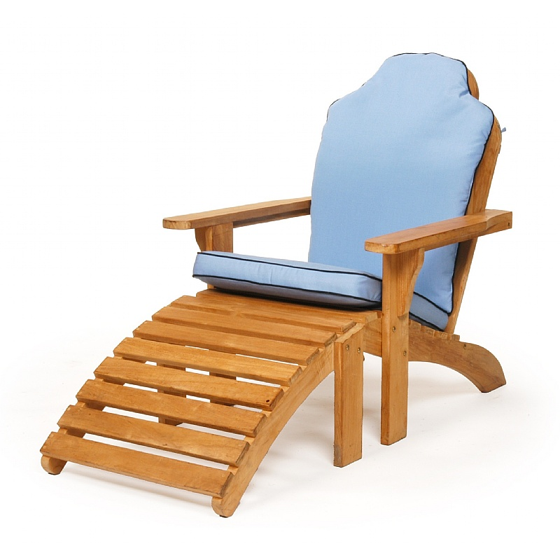 modern design of teak adirondack chairs with ottoman and blue cushion seat for outdoor furniture ideas