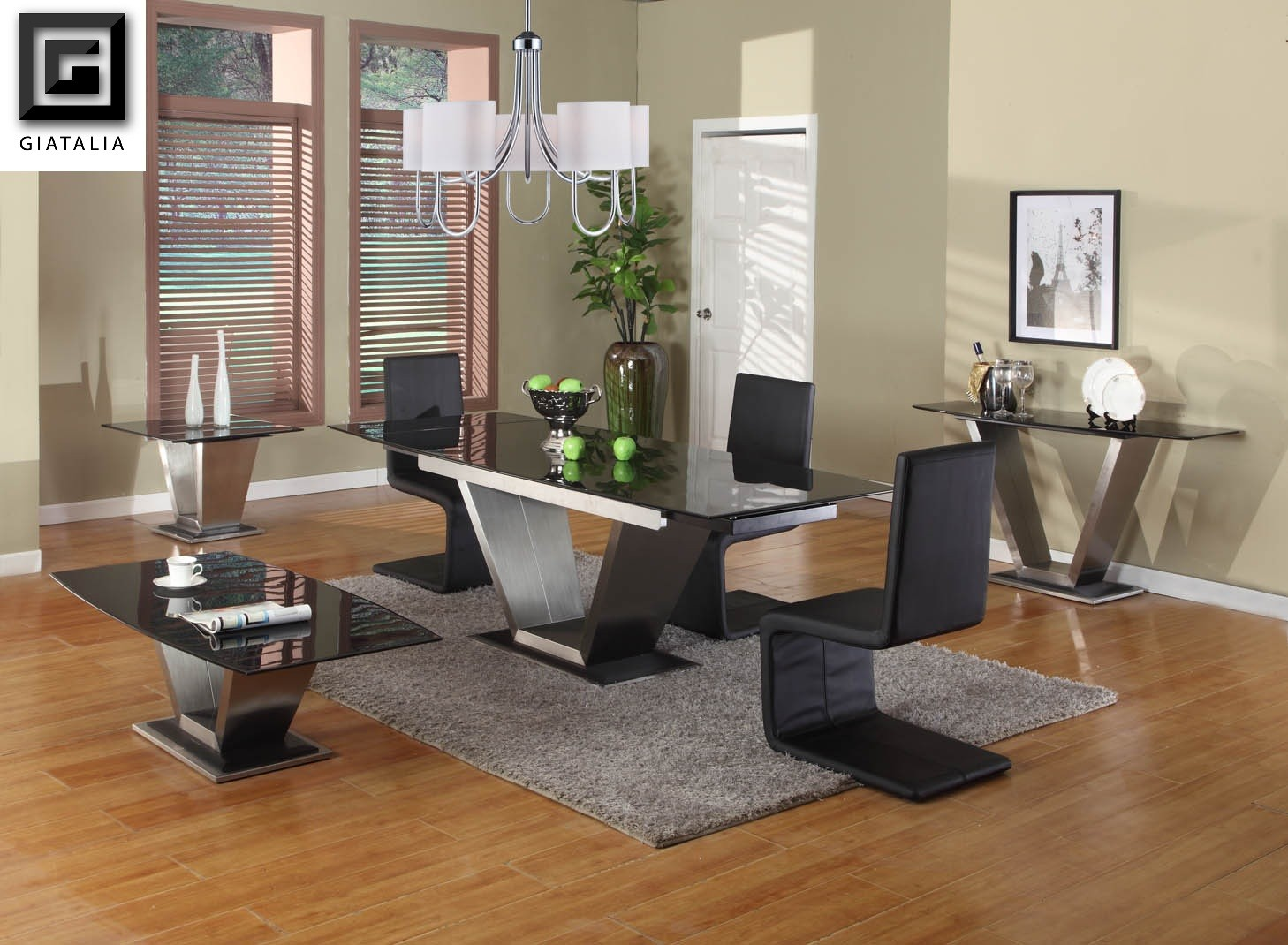 modern expandable dining table set in black on wooden floor plus grey carpet plus chandelier for inspiring dining room decor ideas