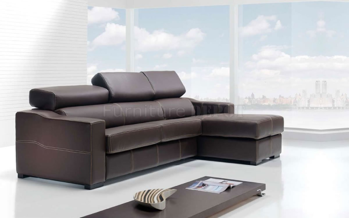 modern leather sectional sleeper sofa in brown on white ceramics floor for living room decor ideas