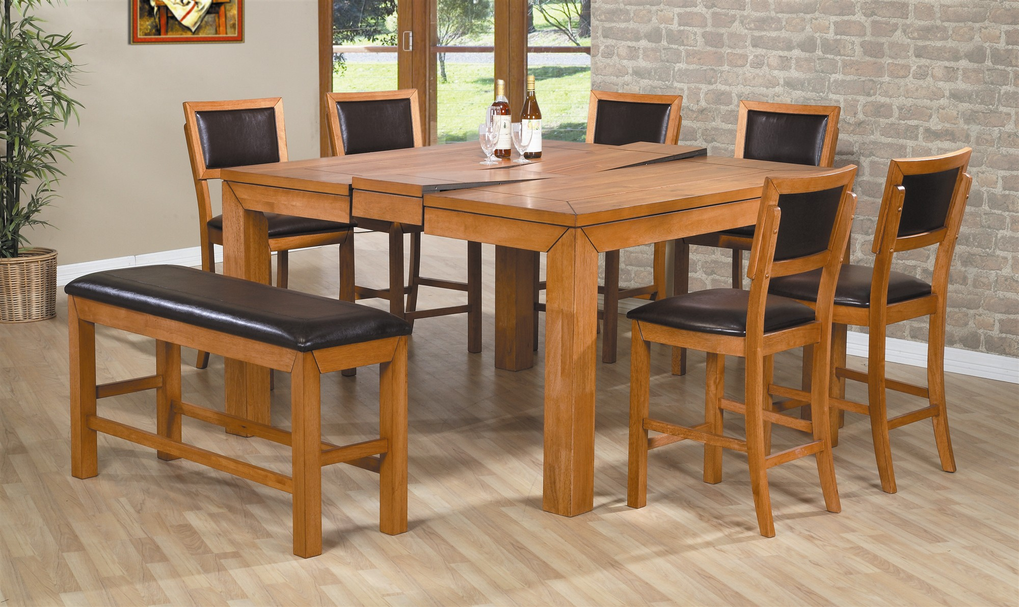 Modern wooden expandable dining table set on cream floor matched with bricked wall for interesting dining room decor ideas