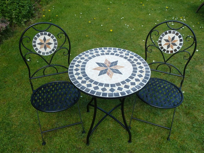 Mosaic Bistro Table In Black With Double Chairs For Patio Decor Ideas