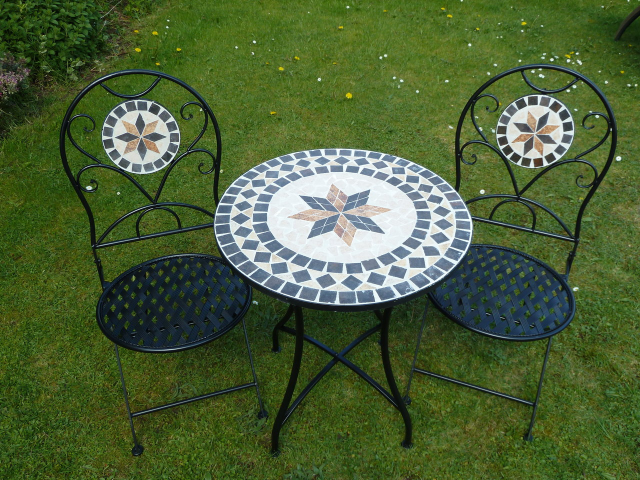 mosaic bistro table in black with double chairs for patio decor ideas - Garden Furniture 3 Piece