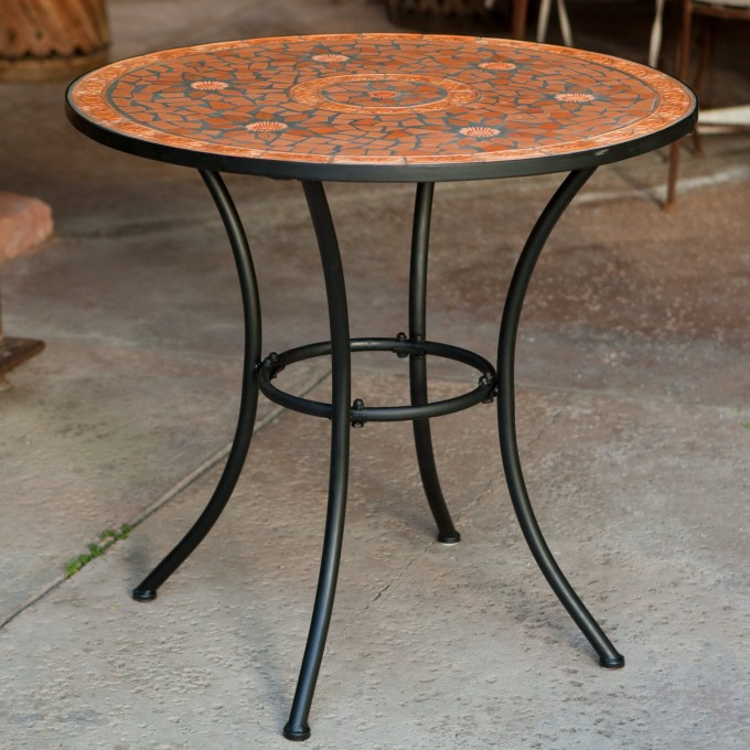 Mosaic Bistro Table In Orange With Black Legs For Home Furniture Ideas