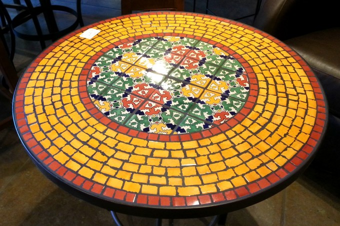 Mosaic Bistro Table In Yellow Dominated For Home Furniture Ideas