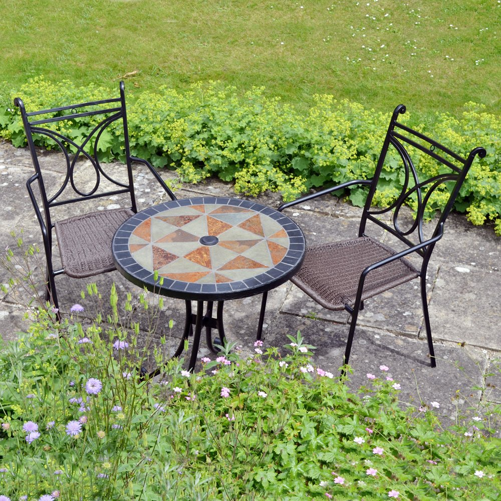 Mosaic Bistro Table With Black Legs And Double Chairs With Brown Seat For  Home Furniture Ideas