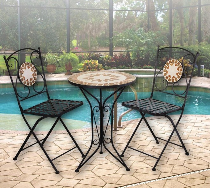 Mosaic Bistro Table With Black Legs And Double Chairs With Mosaic Tile Back For Home Furniture Ideas