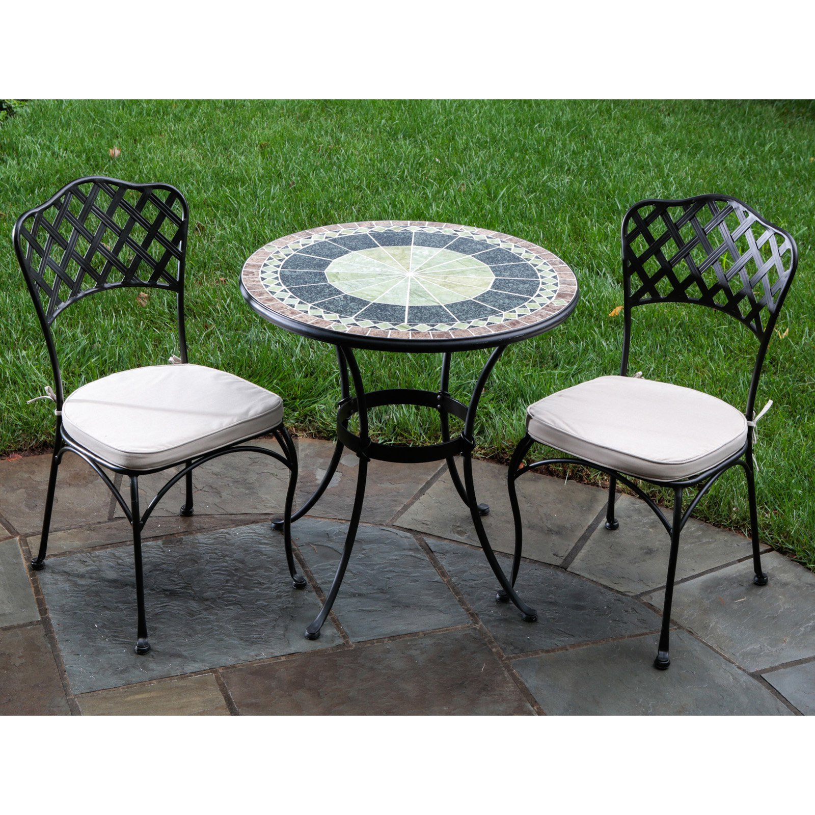 mosaic bistro table with black legs and double chairs with white seat for home furniture ideas