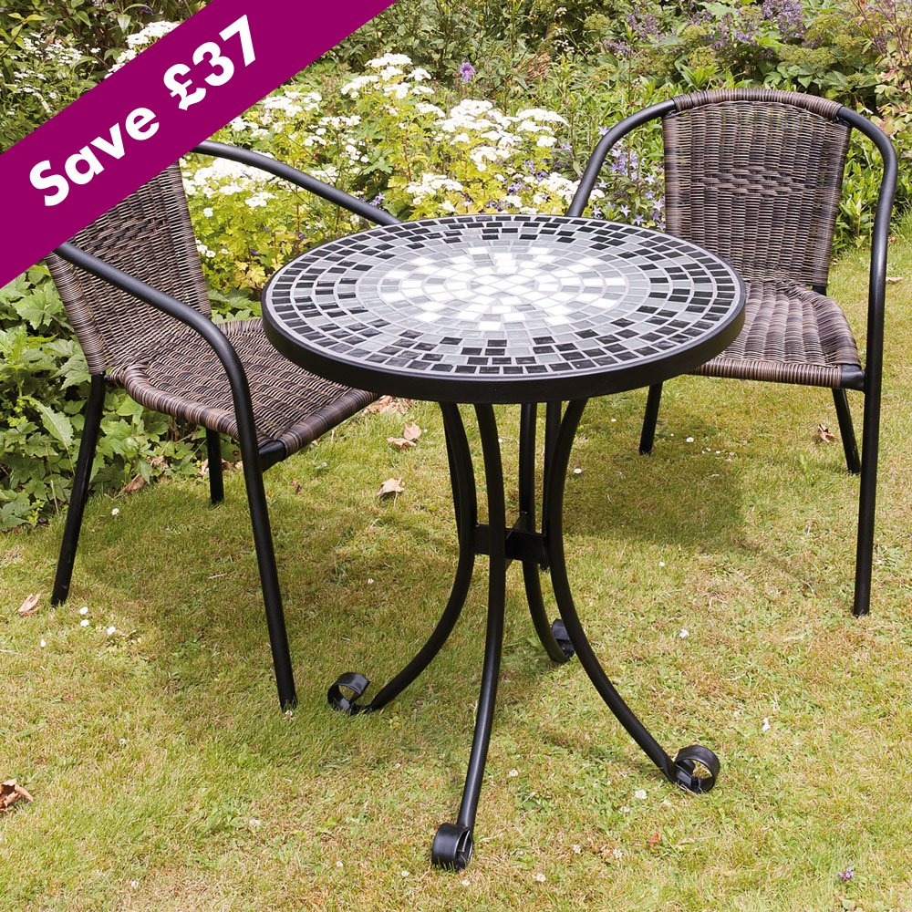 Mosaic Bistro Table With Black Legs Plus Wicker Chair For Home Furniture  Ideas
