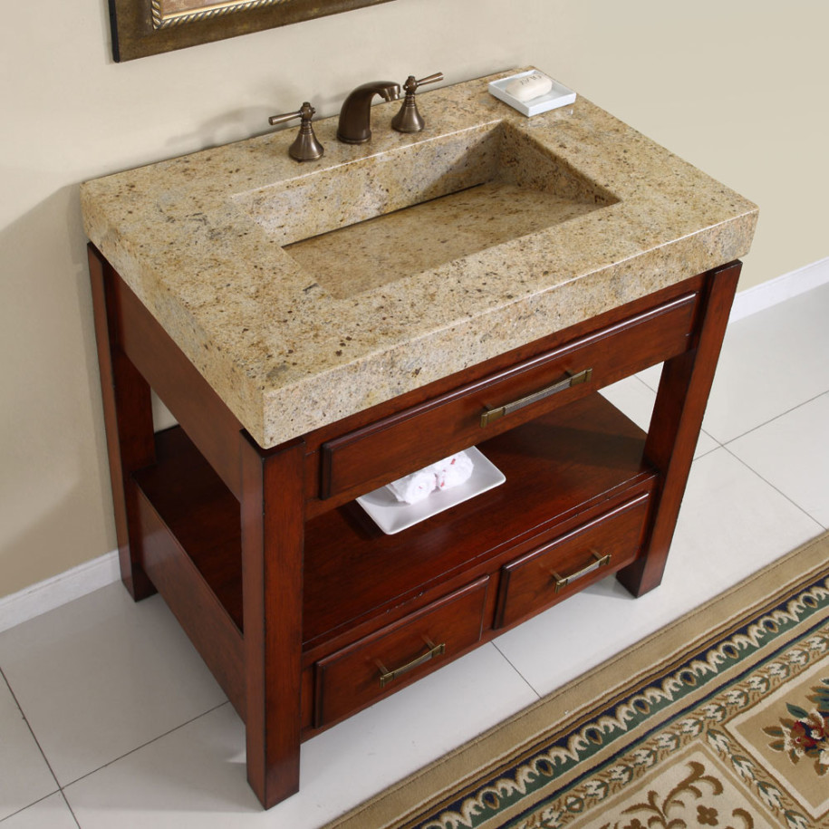 natural brown wood bathroom vanities with tops with single sink and faucet on white ceramics floor matched with cream wall for bathroom decor ideas