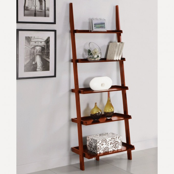 Natural Brown Wood Ladder Bookshelf On White Ceramics Floor Matched With White Wall Plus Picture For Hoe Decor Ideas