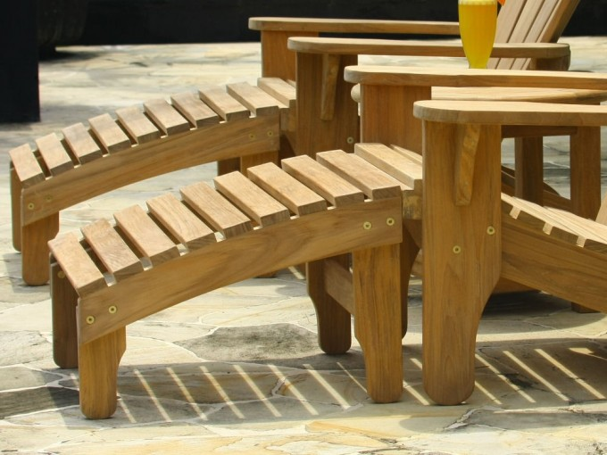 Natural Teak Adirondack Chairs With Ottoman For Outdoor And Patio Furniture Ideas