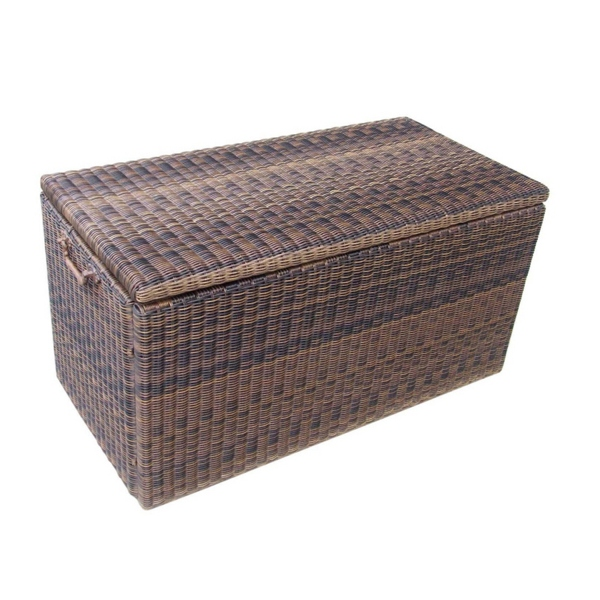 natural wicker Suncast Deck Box Ideas in brown for patio furniture ideas