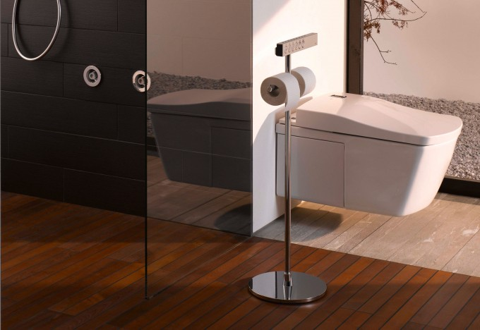 NEOREST Series LE Toilet By TOTO Toilets Design Patched On White Wall And Matched With Wooden Floor For Toilet Decor Ideas