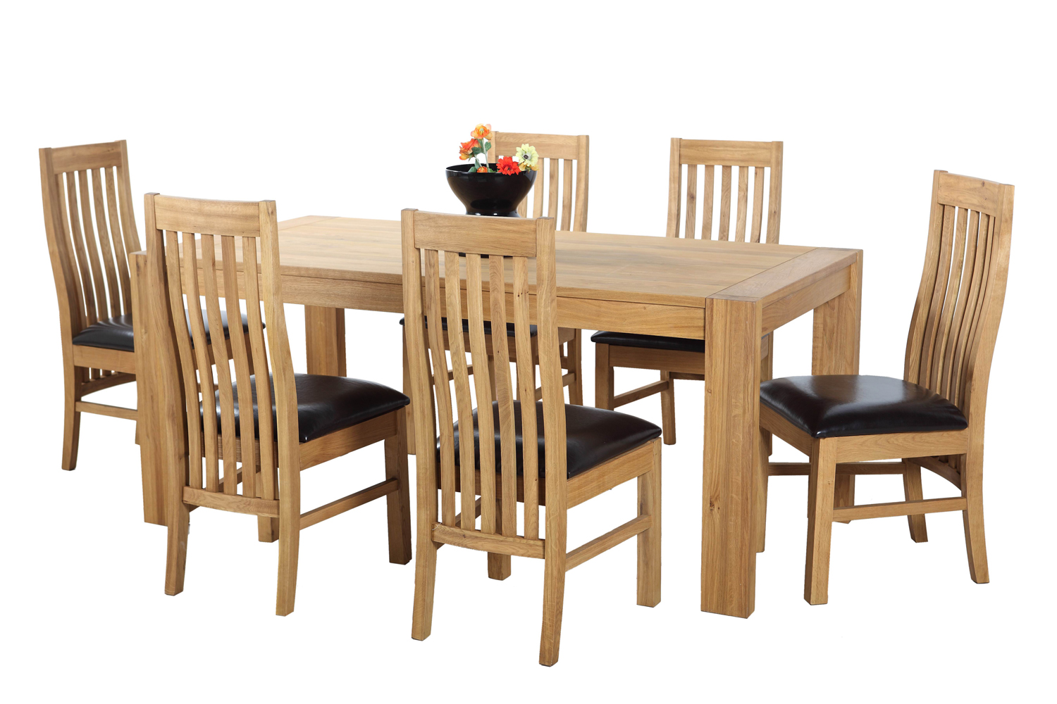 Oak Expandable Dining Table Set With Rectangle Table For Dining Room  Furniture Ideas