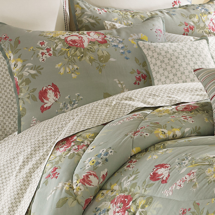 olive laura ashley bedding Comforter Sets with floral pattern plus pillows for bedroom decor ideas