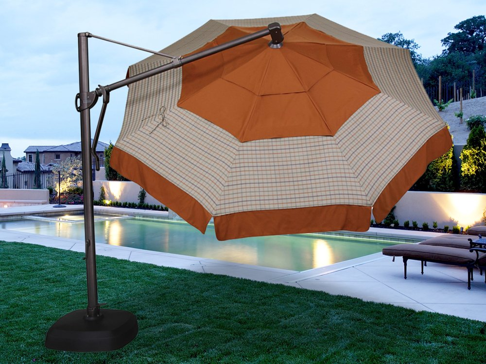orange cantilever patio umbrella with black metal stand for patio furniture ideas