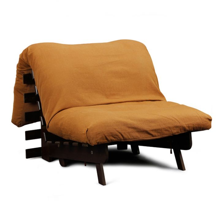 orange cheap futons with dark brown wooden frame for home furniture ideas