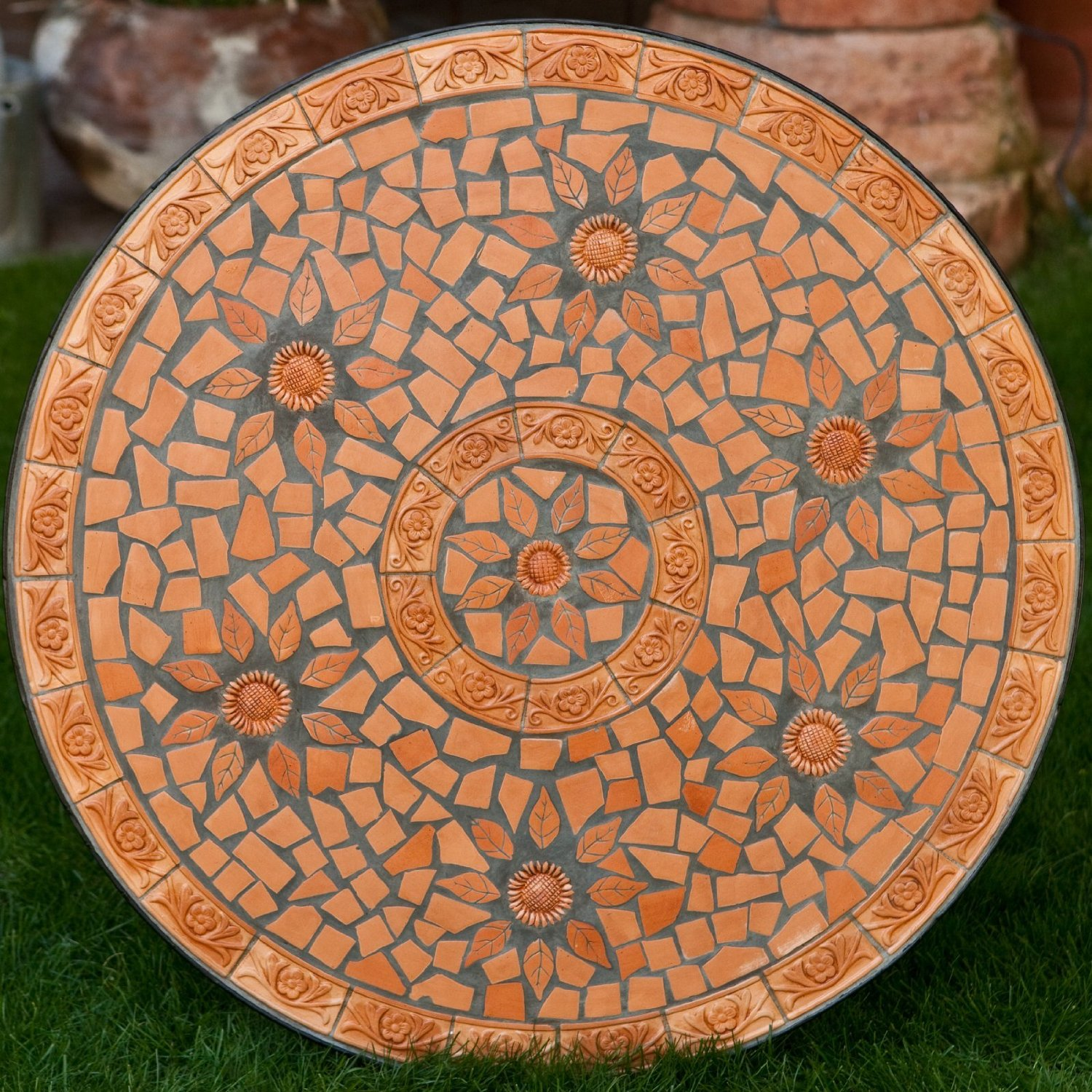 orange mosaic bistro table for home furniture ideas