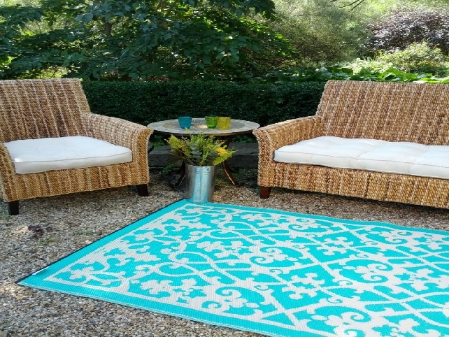 outdoor living room decor with large rectangle blue lowes rugs plus sofa set ideas