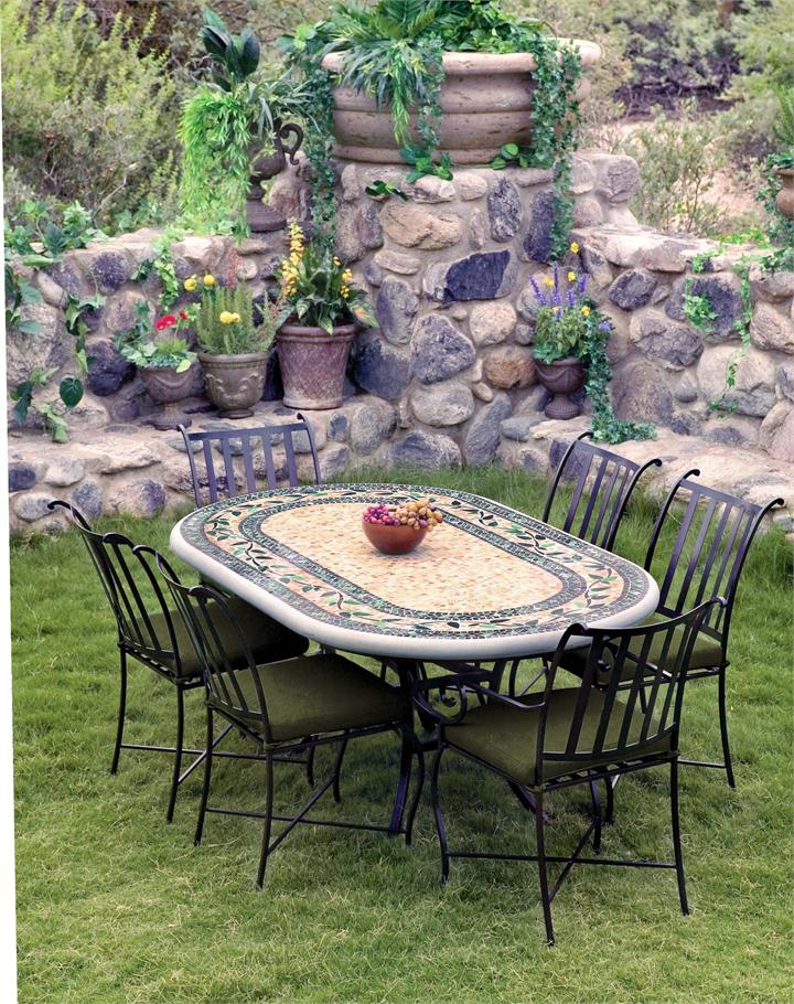 oval Mosaic Bistro Table with chairs for patio furniture ideas
