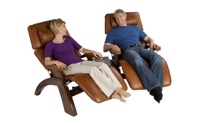 Perfect Zero Gravity Chair In Brown Leather Seat And Wood Stand For Home Furniture Ideas