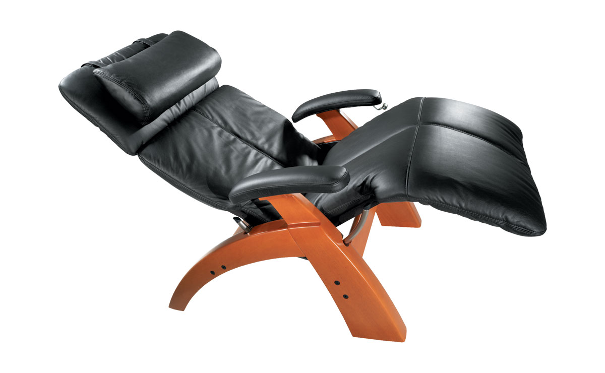 Perfect zero gravity chair with black leather seat and wood stand for home furniture ideas