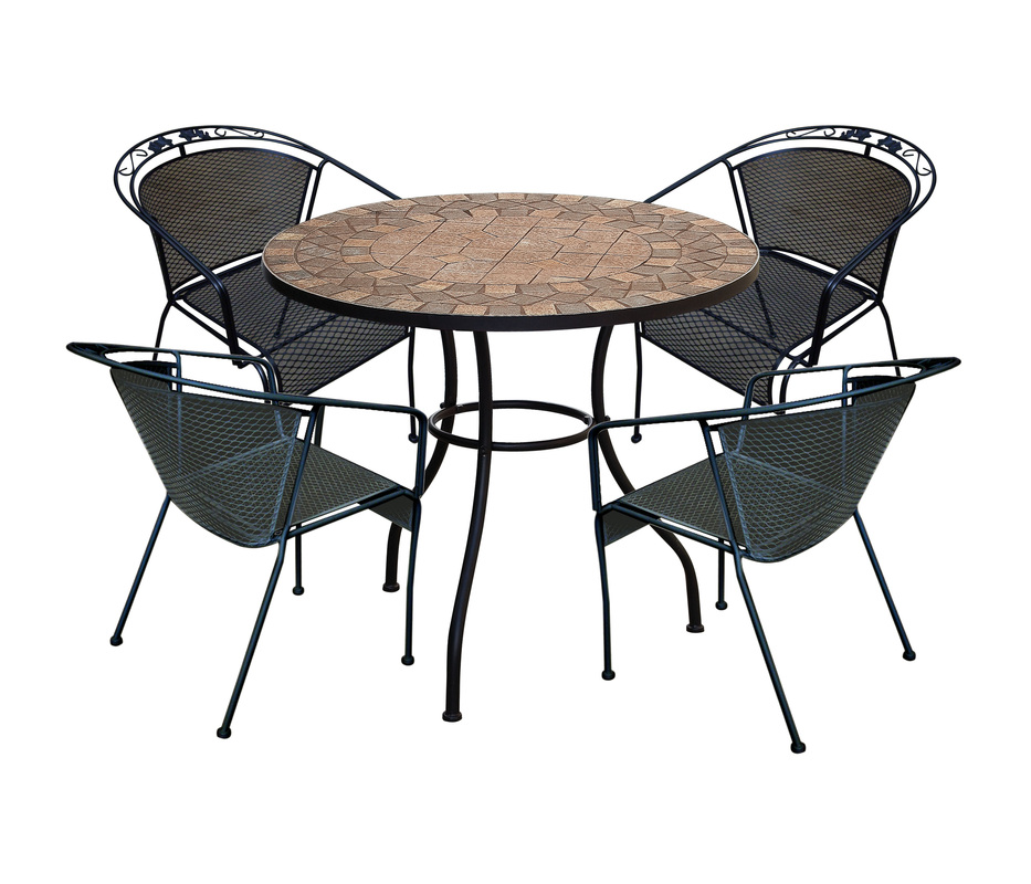 peru Mosaic Bistro Table with black legs and black chairs for home furniture ideas