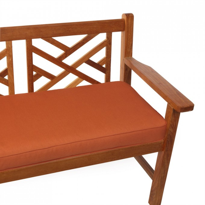 Peru Wooden Bench With Orange Sunbrella Cushions Seat For Comfortable Hoe Furniture Ideas