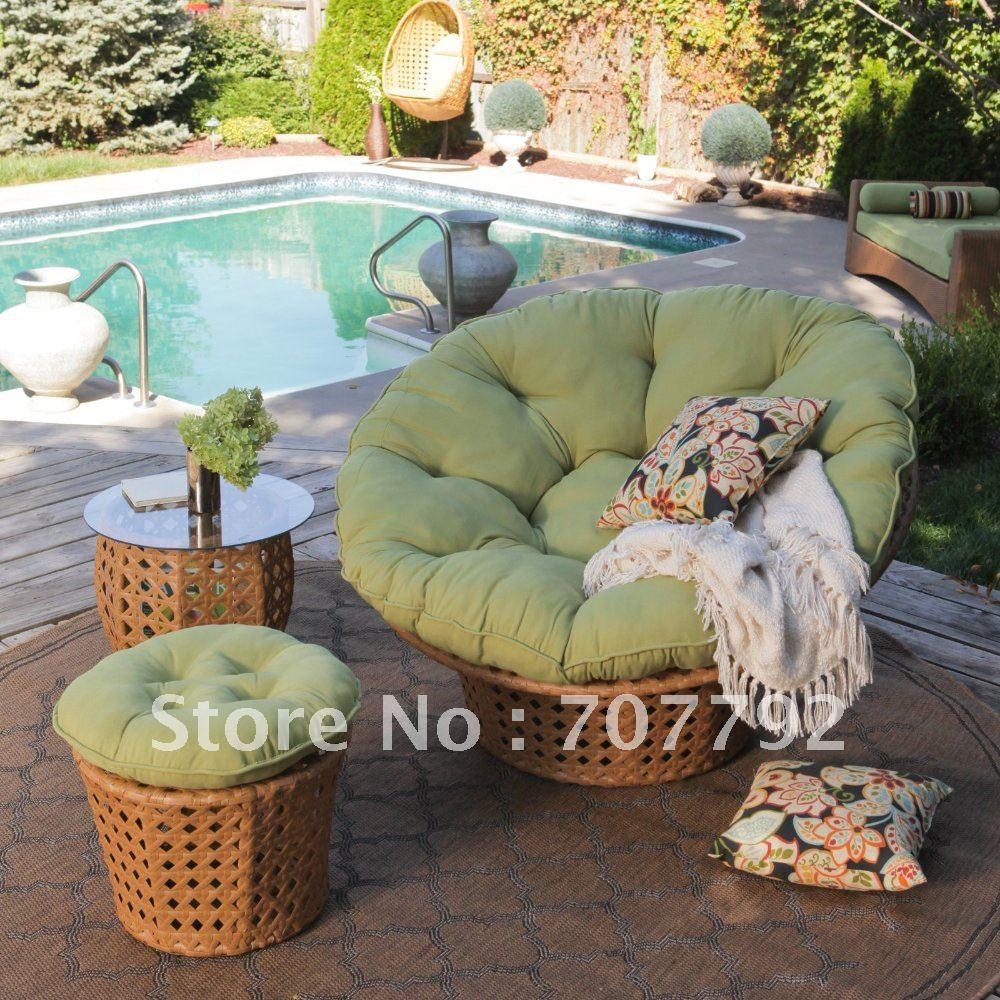 Popular Outdoor Papasan Chair With Green Cushion Seat Plus Mini Table On Carpet For Patio Decor Ideas