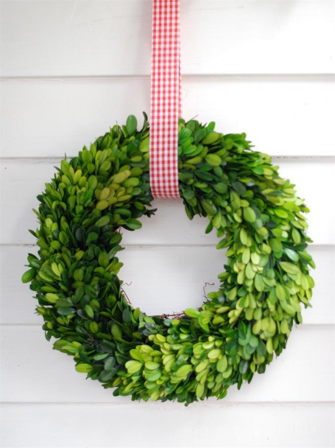 Preserved Boxwood Wreath 12 Inch With Red Ribbon Hanged On White Siding For Home Accessories Ideas