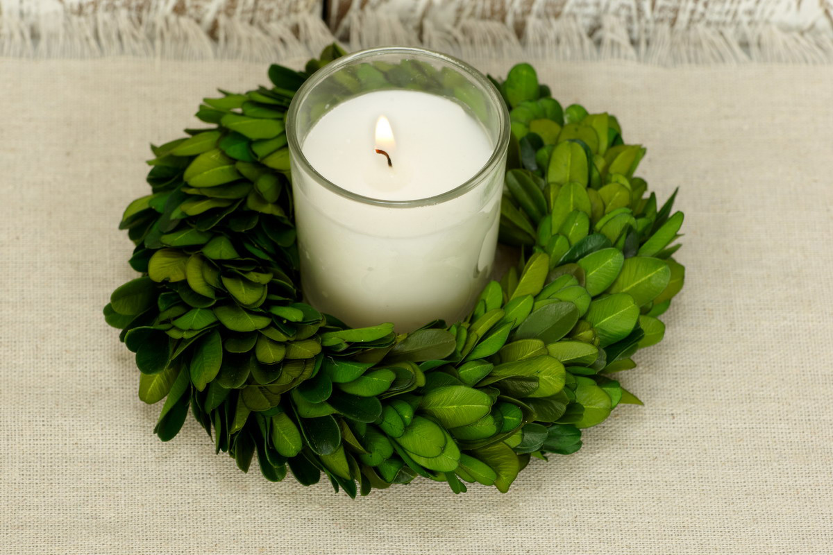 Preserved Boxwood Wreath 5inch In Circle Design Surround The Candle For Home Accessories Ideas