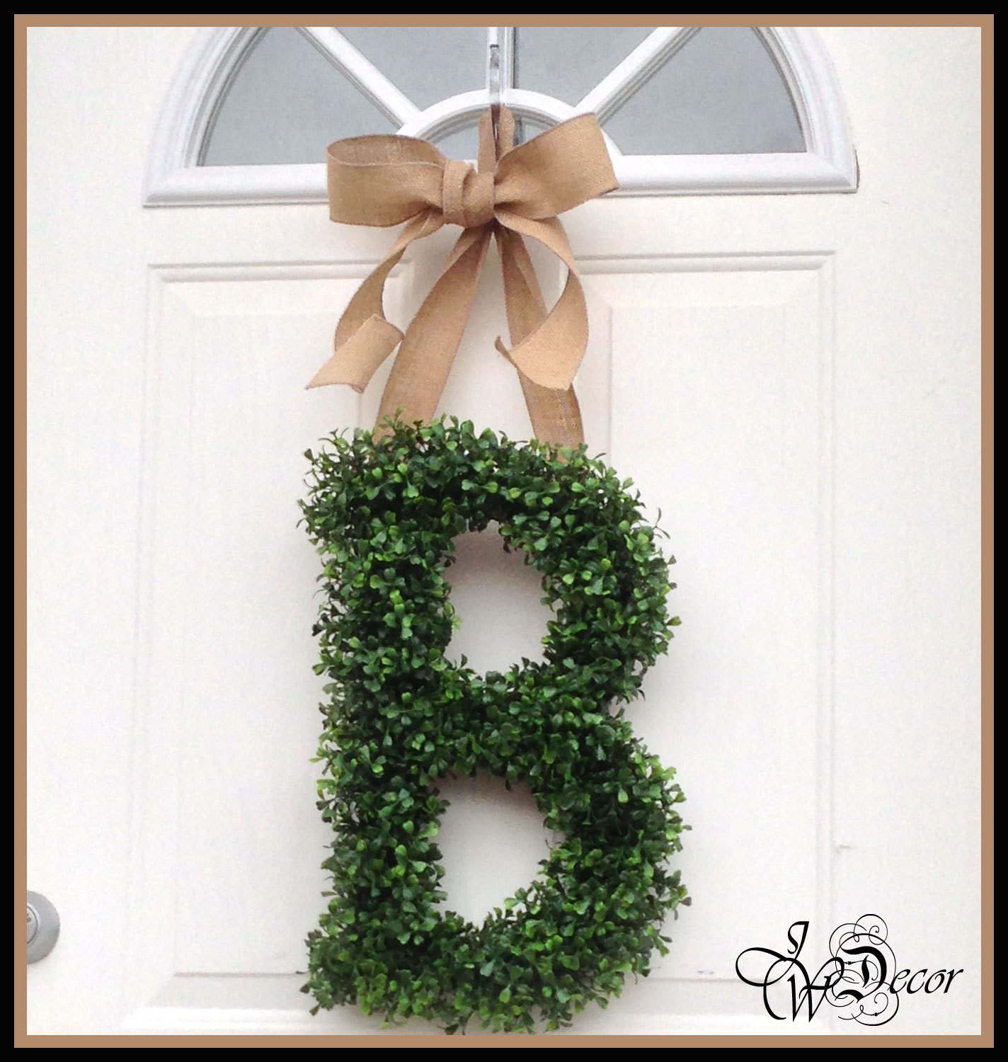 Preserved Boxwood Wreath In B Design With Tan Ribbon On White Door For Home Interior Design Ideas
