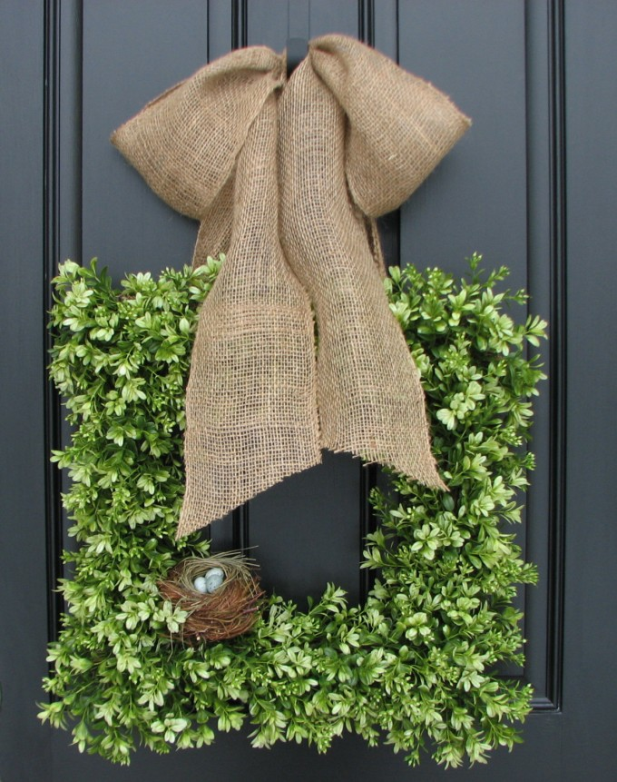 Preserved Boxwood Wreath In Square Design With Tan Ribbon For Home Accessories Ideas
