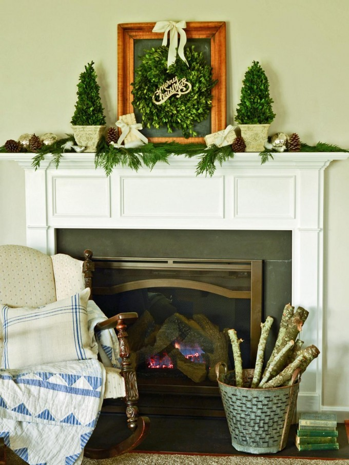 Preserved Boxwood Wreath On Wooden Frame Above The Fireplace For Home Decor Ideas