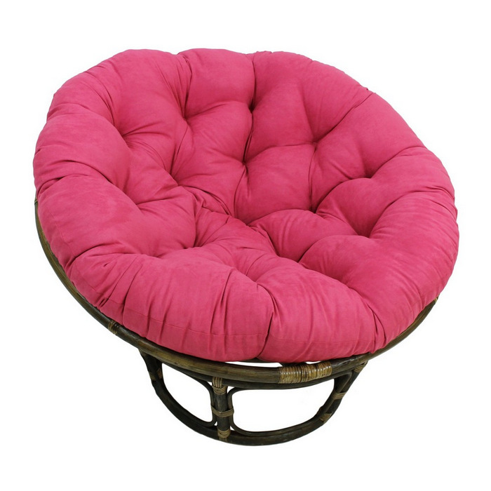 rattan outdoor papasan chair with pink tufted cushion seat for charming furniture ideas