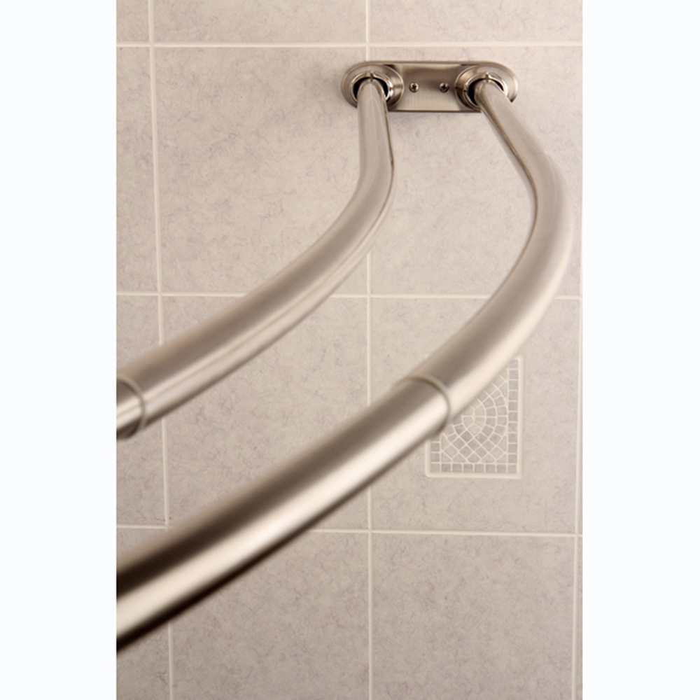 Recommended Curved Shower Curtain Rod On Wheat Wall For Shower Room Decor Ideas