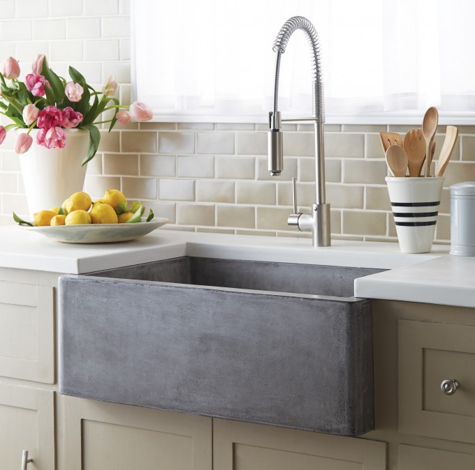 Rectangle Apron Sink On Cream Kitchen Cabinet With White Countertop For Kitchen Decor Ideas